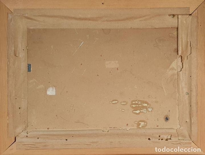 Arte: MARINA. BARCOS EN EL PUERTO. ÓLEO SOBRE TABLA. F. GARCIA FORTEZA. SIGLO XX. - Foto 3 - 154884546