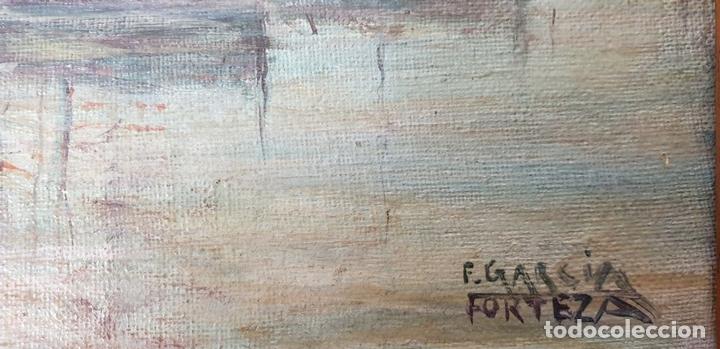 Arte: MARINA. BARCOS EN EL PUERTO. ÓLEO SOBRE TABLA. F. GARCIA FORTEZA. SIGLO XX. - Foto 6 - 154884546