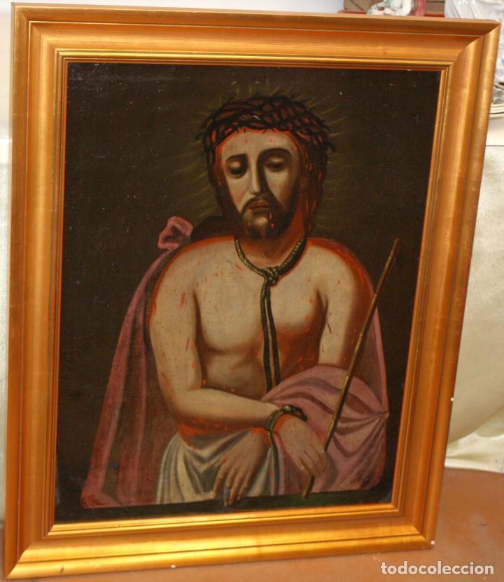 Arte: ESCUELA ESPAÑOLA DEL SIGLO XVIII. OLEO SOBRE TELA DE AUTOR ANONIMO. ECCE HOMO - Foto 4 - 154889274