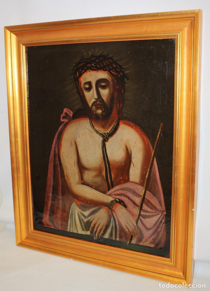 Arte: ESCUELA ESPAÑOLA DEL SIGLO XVIII. OLEO SOBRE TELA DE AUTOR ANONIMO. ECCE HOMO - Foto 5 - 154889274