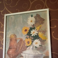 Arte: OLEO SOBRE TABLEX - BODEGÓN FLORAL - FIRMADO - 48 X 40 CM - MARGARITAS, CHOCOLATERA, SOPERA - . Lote 154957482