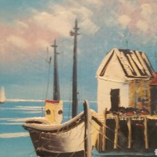 Arte: PINTURA DE MARINA AL ÓLEO SOBRE MADERA. Lote 155020965
