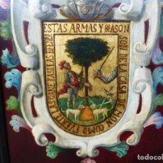 Arte: ESCUDO DE ARMAS DE LA CASA DE MON. ORIGINAL.SIGLO XIX. ÓLEO SOBRE TABLA ANÓNIMO.. Lote 155093106