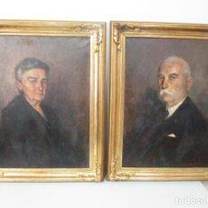 Arte: ÓLEO SOBRE TELA - RETRATO - MARCOS DE MADERA DORADOS - FIRMA R. GONZALEZ CARBONELL (1910-1984). Lote 155138350