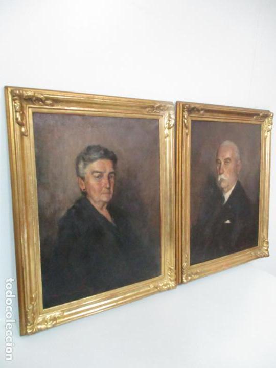 Arte: Óleo sobre Tela - Retrato - Marcos de Madera Dorados - Firma R. Gonzalez Carbonell (1910-1984) - Foto 3 - 155138350