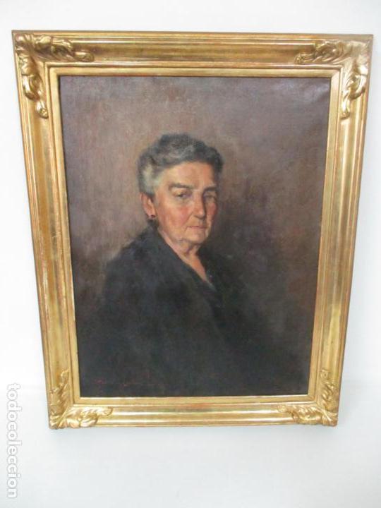Arte: Óleo sobre Tela - Retrato - Marcos de Madera Dorados - Firma R. Gonzalez Carbonell (1910-1984) - Foto 4 - 155138350