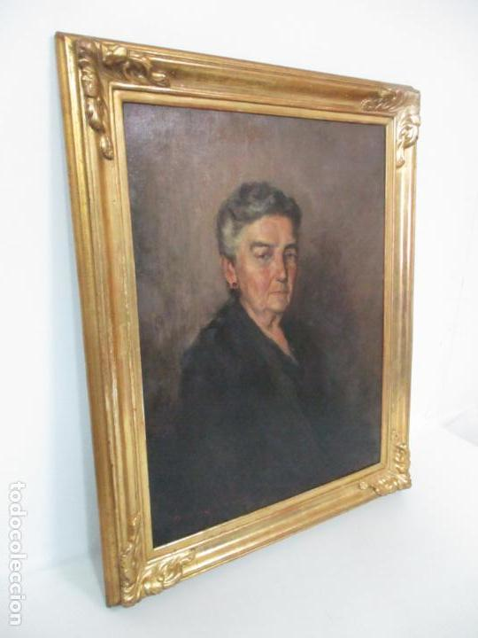 Arte: Óleo sobre Tela - Retrato - Marcos de Madera Dorados - Firma R. Gonzalez Carbonell (1910-1984) - Foto 5 - 155138350