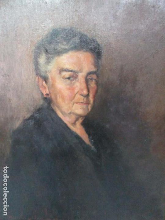 Arte: Óleo sobre Tela - Retrato - Marcos de Madera Dorados - Firma R. Gonzalez Carbonell (1910-1984) - Foto 6 - 155138350