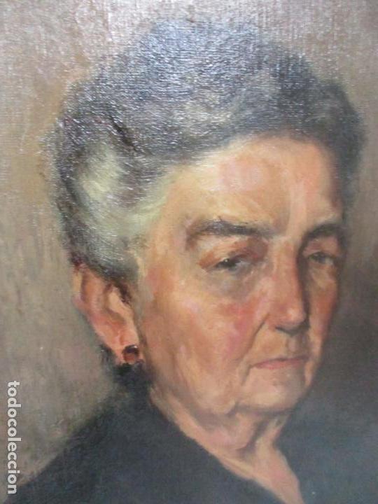 Arte: Óleo sobre Tela - Retrato - Marcos de Madera Dorados - Firma R. Gonzalez Carbonell (1910-1984) - Foto 7 - 155138350