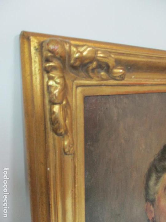 Arte: Óleo sobre Tela - Retrato - Marcos de Madera Dorados - Firma R. Gonzalez Carbonell (1910-1984) - Foto 10 - 155138350