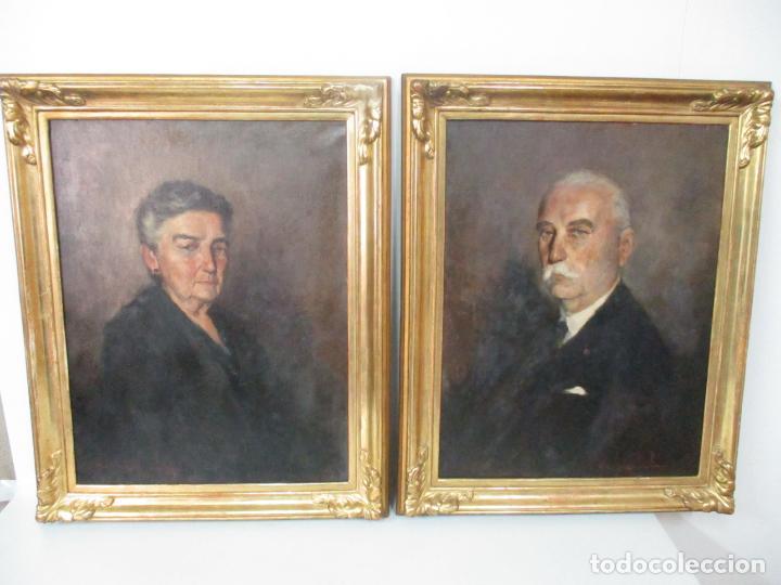 Arte: Óleo sobre Tela - Retrato - Marcos de Madera Dorados - Firma R. Gonzalez Carbonell (1910-1984) - Foto 13 - 155138350