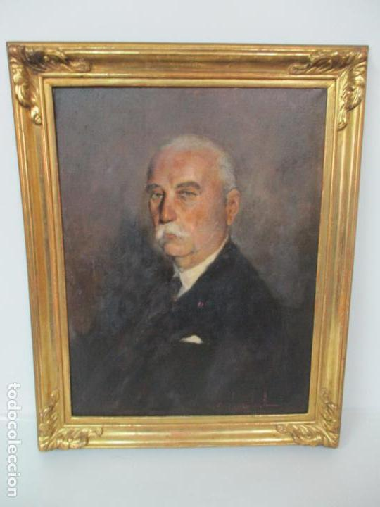 Arte: Óleo sobre Tela - Retrato - Marcos de Madera Dorados - Firma R. Gonzalez Carbonell (1910-1984) - Foto 14 - 155138350