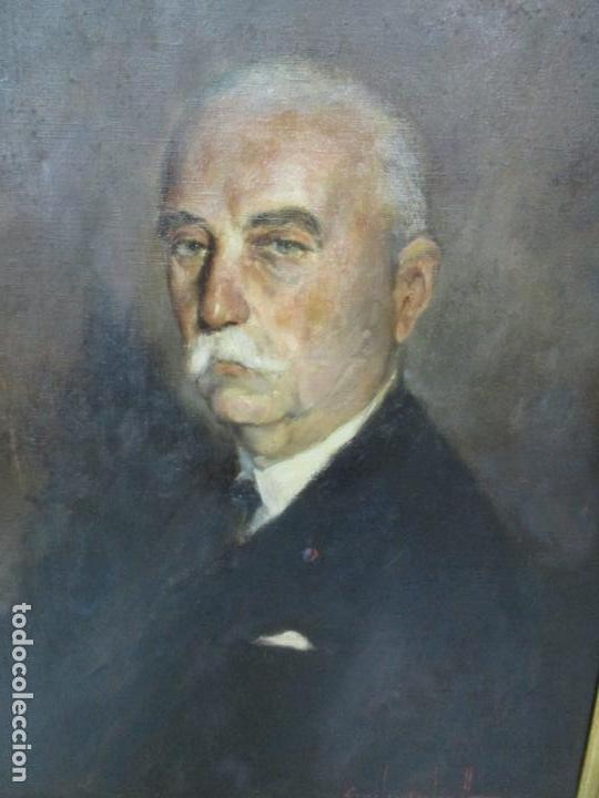 Arte: Óleo sobre Tela - Retrato - Marcos de Madera Dorados - Firma R. Gonzalez Carbonell (1910-1984) - Foto 15 - 155138350