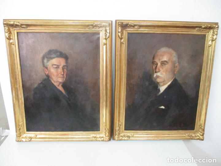 Arte: Óleo sobre Tela - Retrato - Marcos de Madera Dorados - Firma R. Gonzalez Carbonell (1910-1984) - Foto 23 - 155138350