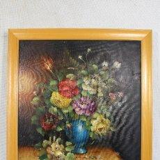 Arte: BODEGON - FLORES - ORIGINAL - FIRMADO - OLEO - LIENZO. Lote 155191766