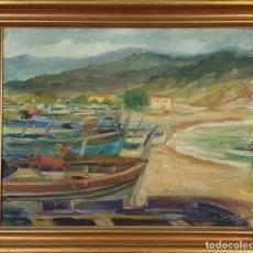 Arte: MARINA CON BARCAS. ÓLEO SOBRE LIENZO. R. SARABIA. 1939. . Lote 155199362