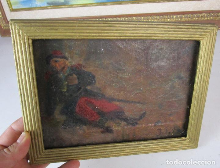 Arte: CURIOSA PINTURA AL OLEO DE MILITAR HERIDO CON ESPADA O BORRACHO , TABLETA S XIX XVIII - Foto 2 - 155241758