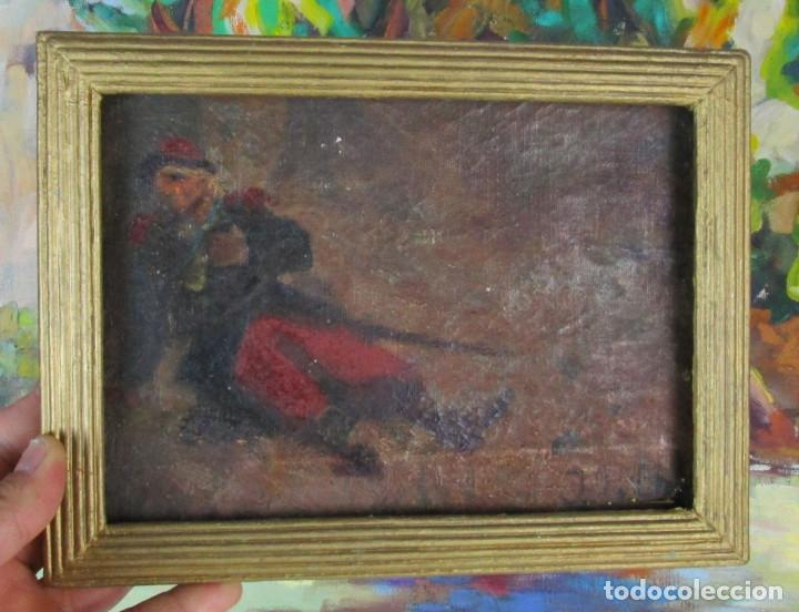 Arte: CURIOSA PINTURA AL OLEO DE MILITAR HERIDO CON ESPADA O BORRACHO , TABLETA S XIX XVIII - Foto 3 - 155241758