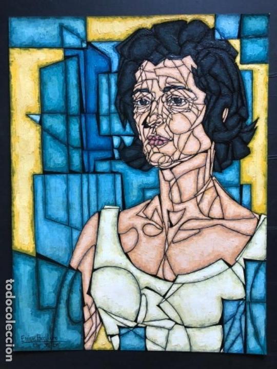 ENRIQUE BENLLIURE ALVAREZ (MADRID,1919-2005) TÉCNICA MIXTA. SOBRE CARTULINA DEL AÑO 1966 . RETRATO (Arte - Pintura - Pintura al Óleo Contemporánea )