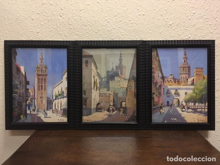 Art: Lote de tres pinturas al óleo por Manuel Tejero ( S XIX-XX ) de Sevilla - Foto 2 - 155269920