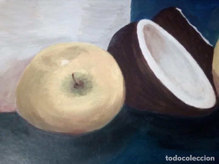 Arte: ÓLEO SOBRE LIENZO - DOS MANZANAS Y UN COCO - (FIRMADO ANA MARÍA TRINXET) 50x35 CENTÍMETROS - Foto 2 - 155305050