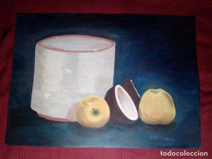 Arte: ÓLEO SOBRE LIENZO - DOS MANZANAS Y UN COCO - (FIRMADO ANA MARÍA TRINXET) 50x35 CENTÍMETROS - Foto 9 - 155305050