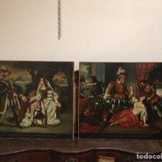 Arte: PAREJA DE ÓLEOS REENTELADOS ESCUELA PORTUGUESA DEL XVIII-XIX A ESTUDIAR. Lote 155312762