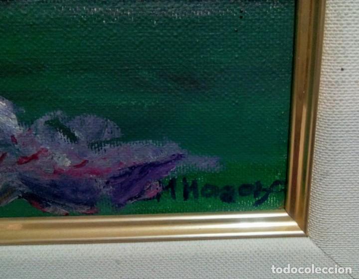 Arte: Óleo sobre lienzo flores, firmado. - Foto 2 - 155322958