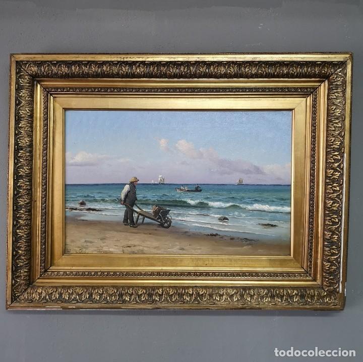 OLEO SOBRE LIENZO EN IMPRESIONANTE MARCO DE ÉPOCA FIRMADO HOLGER PETER SVANE LÜBBERS (1850-1931) (Arte - Pintura - Pintura al Óleo Moderna sin fecha definida)