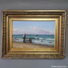 Arte: OLEO SOBRE LIENZO EN IMPRESIONANTE MARCO DE ÉPOCA FIRMADO HOLGER PETER SVANE LÜBBERS (1850-1931). Lote 155330886