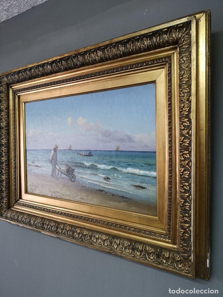 Arte: OLEO SOBRE LIENZO EN IMPRESIONANTE MARCO DE ÉPOCA FIRMADO HOLGER PETER SVANE LÜBBERS (1850-1931) - Foto 4 - 155330886