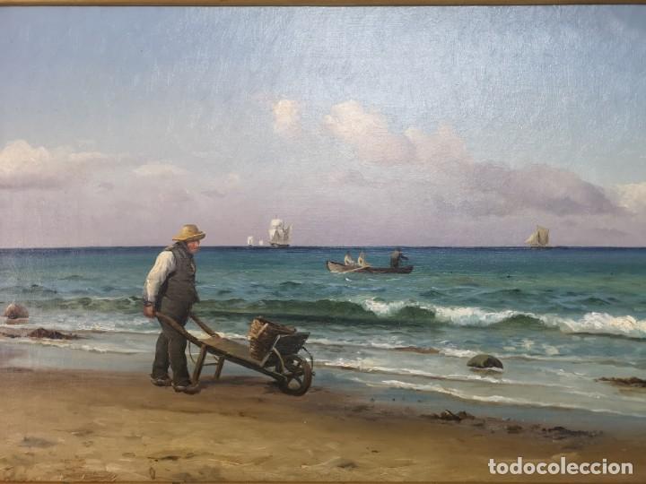 Arte: OLEO SOBRE LIENZO EN IMPRESIONANTE MARCO DE ÉPOCA FIRMADO HOLGER PETER SVANE LÜBBERS (1850-1931) - Foto 6 - 155330886