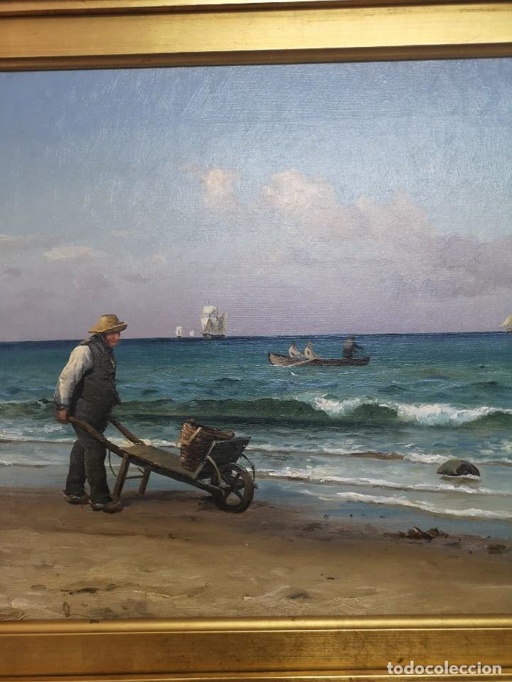 Arte: OLEO SOBRE LIENZO EN IMPRESIONANTE MARCO DE ÉPOCA FIRMADO HOLGER PETER SVANE LÜBBERS (1850-1931) - Foto 11 - 155330886