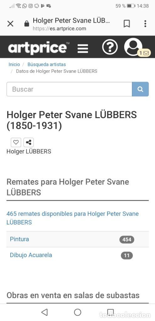 Arte: OLEO SOBRE LIENZO EN IMPRESIONANTE MARCO DE ÉPOCA FIRMADO HOLGER PETER SVANE LÜBBERS (1850-1931) - Foto 21 - 155330886