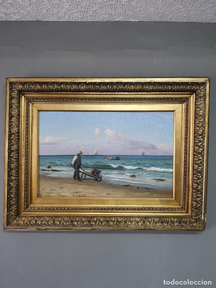 Arte: OLEO SOBRE LIENZO EN IMPRESIONANTE MARCO DE ÉPOCA FIRMADO HOLGER PETER SVANE LÜBBERS (1850-1931) - Foto 2 - 155330886