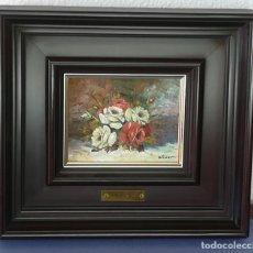 Arte: BODEGON DE FLORES, ÓLEO SOBRE TABLA, FIRMADO OLIVER (FRANCESC OLIVER FRADERA) - 16 X 12 CM. Lote 155362946