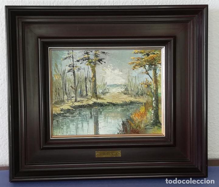 ÓLEO PAISAJE SOBRE TABLA, FIRMADO OLIVER (FRANCESC OLIVER FRADERA) - 23 X 18 CM (Arte - Pintura - Pintura al Óleo Contemporánea )