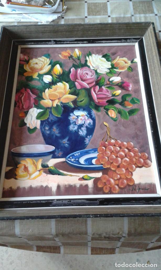 ÓLEO SOBRE LIENZO ENMARCADO Y FIRMADO. BODEGÓN. 42 X 53 CM (Arte - Pintura - Pintura al Óleo Moderna sin fecha definida)