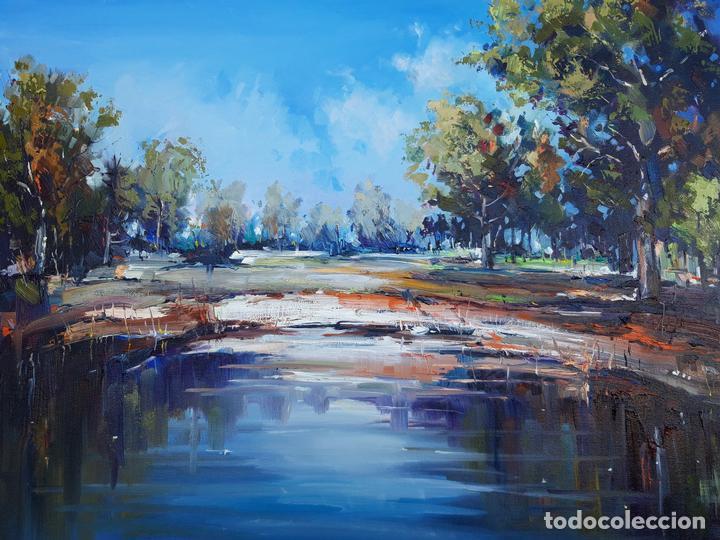 Arte: cuadro al oleo sobre lienzo ,,Por el lago,, - Foto 2 - 155524682