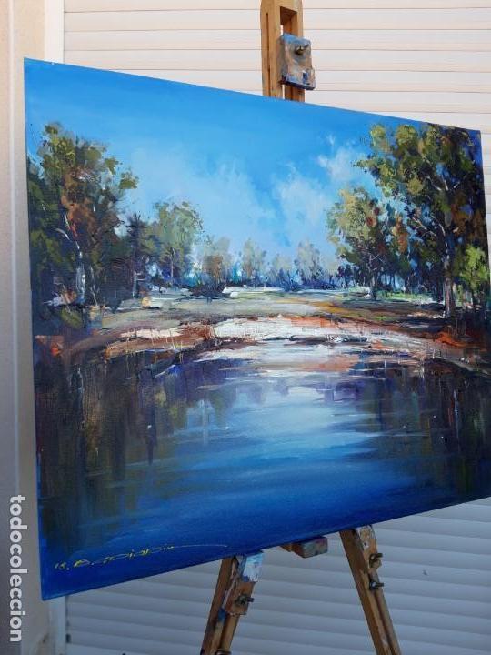 Arte: cuadro al oleo sobre lienzo ,,Por el lago,, - Foto 3 - 155524682
