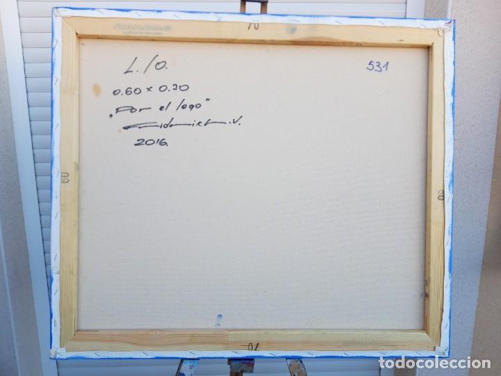 Arte: cuadro al oleo sobre lienzo ,,Por el lago,, - Foto 4 - 155524682