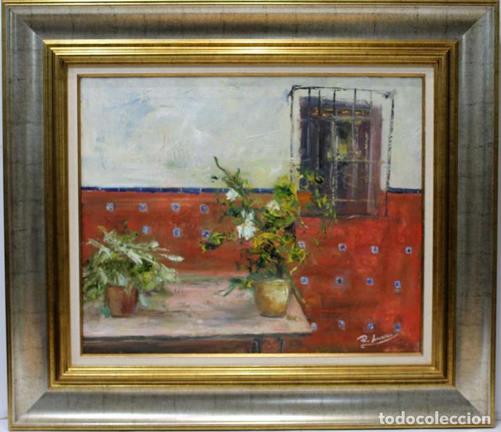 PATIO ANDALUZ - ROSA MARIA - OLEO SOBRE LIENZO - 86X75 CM (Arte - Pintura - Pintura al Óleo Contemporánea )