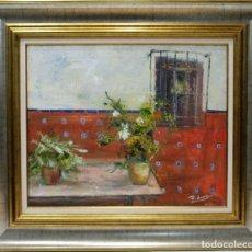Arte: PATIO ANDALUZ - ROSA MARIA - OLEO SOBRE LIENZO - 86X75 CM. Lote 155551421