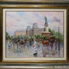 Arte: GALANTERÍA PARISINA - CARBONELL - OLEO SOBRE LIENZO - 110X94 CM. Lote 155551429