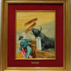 Arte: TORO EN EL BURLADERO - JOSÉ PUENTE - OLEO SOBRE LIENZO - 76X68 CM. Lote 155551461