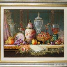 Arte: FRUTAS Y VINO - MICHEL - OLEO SOBRE LIENZO - 104X88 CM. Lote 155551465