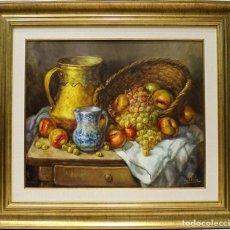Arte: BODEGÓN DE LA VASIJA AMARILLA - J. VILA - OLEO SOBRE LIENZO - 78X69 CM. Lote 155551493