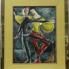Arte: PAREJA DE BAILE - FORSALL - OLEO SOBRE CARTULINA - 89X74 CM. Lote 155551501