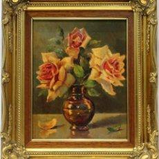 Arte: FLORES - JOSÉ ALMONTE - OLEO SOBRE TABLA - 38X32 CM. Lote 155551521