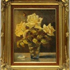 Arte: FLORES - JOSÉ ALMONTE - OLEO SOBRE TABLA - 38X32 CM. Lote 155551525